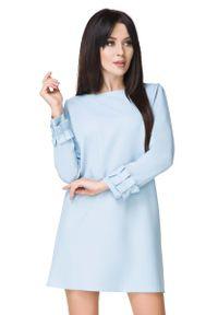 Tessita - Błękitna Sukienka z Falbanką przy Rękawie. Kolor: niebieski. Materiał: elastan, poliester