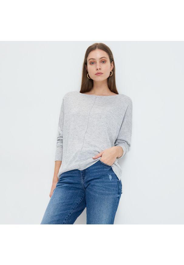 Mohito - Gładki sweter Eco Aware - Jasny szary. Kolor: szary. Wzór: gładki