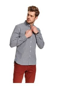 TOP SECRET - Koszula w kratę o kroju regularnym. Kolor: niebieski. Materiał: materiał. Długość: długie. Wzór: kratka. Sezon: wiosna. Styl: klasyczny