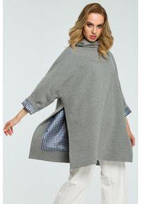 e-margeritka - Elegancka bawełniana bluza z golfem szara - uni. Typ kołnierza: golf. Kolor: szary. Materiał: bawełna. Długość: długie. Sezon: jesień, zima. Styl: elegancki