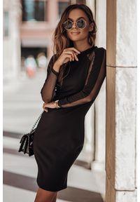 IVON - Sukienka z Szyfonową Wstawką na Rękawach - Czarna. Kolor: czarny. Materiał: szyfon