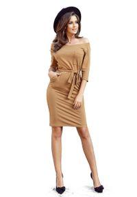 Numoco - Codzienna Dresowa Sukienka z Kieszeniami. Okazja: na co dzień. Materiał: dresówka. Typ sukienki: proste. Styl: casual