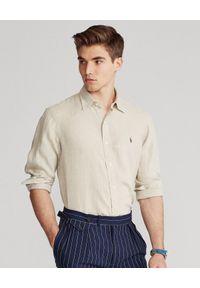 Ralph Lauren - RALPH LAUREN - Beżowa koszula z lnu Lightweight Slim Fit. Typ kołnierza: button down, polo. Kolor: beżowy. Materiał: len. Długość rękawa: długi rękaw. Długość: długie. Wzór: haft