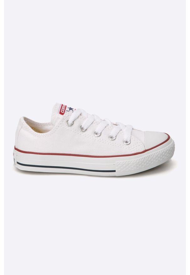 Białe trampki Converse na sznurówki, z okrągłym noskiem