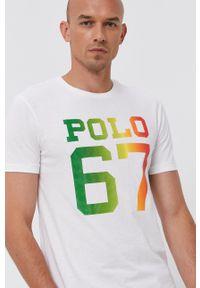 Polo Ralph Lauren - T-shirt bawełniany. Okazja: na co dzień. Typ kołnierza: polo. Kolor: biały. Materiał: bawełna. Wzór: nadruk. Styl: casual