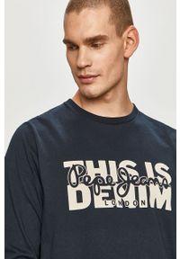 Niebieska koszulka z długim rękawem Pepe Jeans z nadrukiem