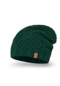 Przedłużana czapka damska PaMaMi - Butelkowa zieleń. Materiał: poliamid, akryl. Wzór: ze splotem. Sezon: wiosna, jesień