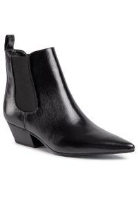 Czarne botki Calvin Klein na średnim obcasie, z cholewką