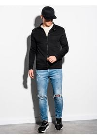 Ombre Clothing - Bluza męska rozpinana bez kaptura B1071 - czarna - XXL. Typ kołnierza: bez kaptura. Kolor: czarny. Materiał: poliester, bawełna