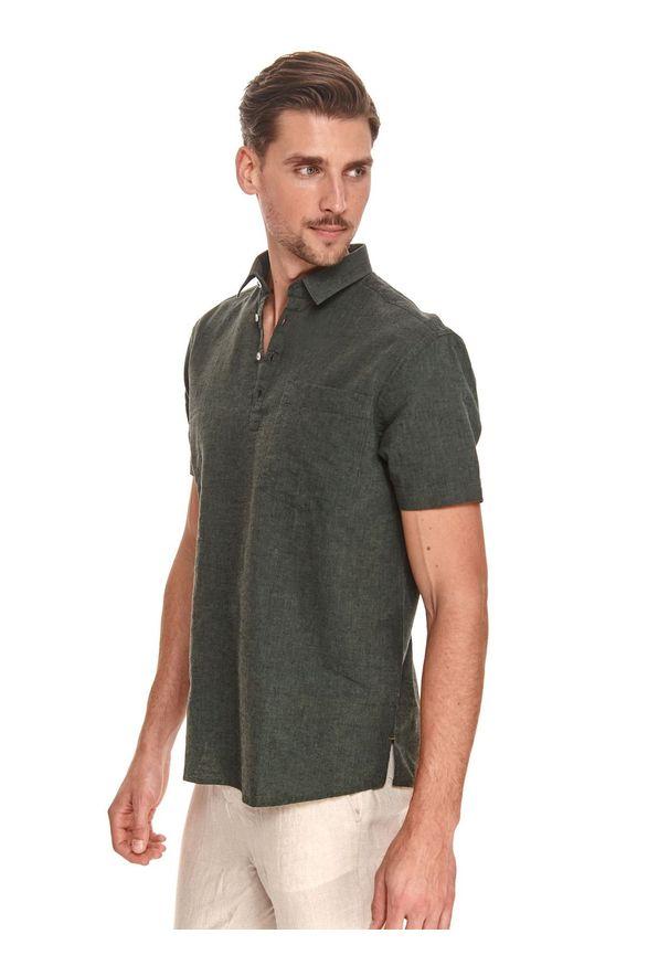 TOP SECRET - Koszula z krótkim rękawkiem, z lnem. Kolor: zielony. Materiał: len. Długość rękawa: krótki rękaw. Długość: krótkie. Sezon: lato