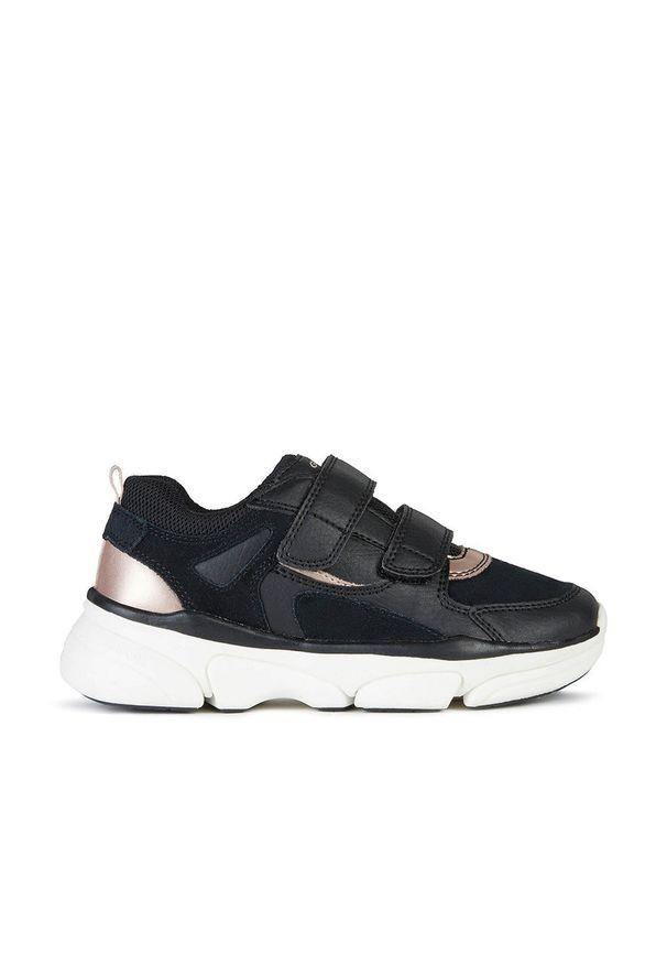 Czarne buty sportowe Geox z okrągłym noskiem, na rzepy, z cholewką