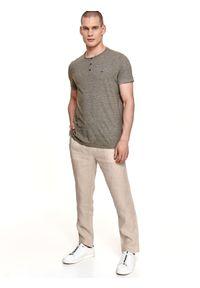 TOP SECRET - T-shirt w prążki z lnem. Kolor: brązowy. Materiał: len. Długość rękawa: krótki rękaw. Długość: krótkie. Wzór: prążki. Sezon: lato