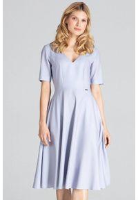 Szara sukienka Figl do pracy, midi