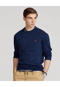 Ralph Lauren - RALPH LAUREN - Granatowa koszulka z długim rękawem. Typ kołnierza: polo. Kolor: niebieski. Materiał: bawełna. Długość rękawa: długi rękaw. Długość: długie. Wzór: haft