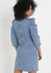 Born2be - Niebieska Sukienka Anthiphite. Kolor: niebieski. Materiał: jeans, skóra. Wzór: aplikacja. Długość: mini