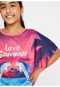 Shirt plażowy dziewczęcy bonprix jasnoróżowy z nadrukiem. Okazja: na plażę. Kolor: różowy. Wzór: nadruk
