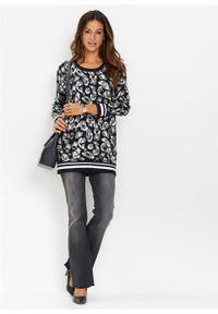 Czarny sweter bonprix długi, z nadrukiem