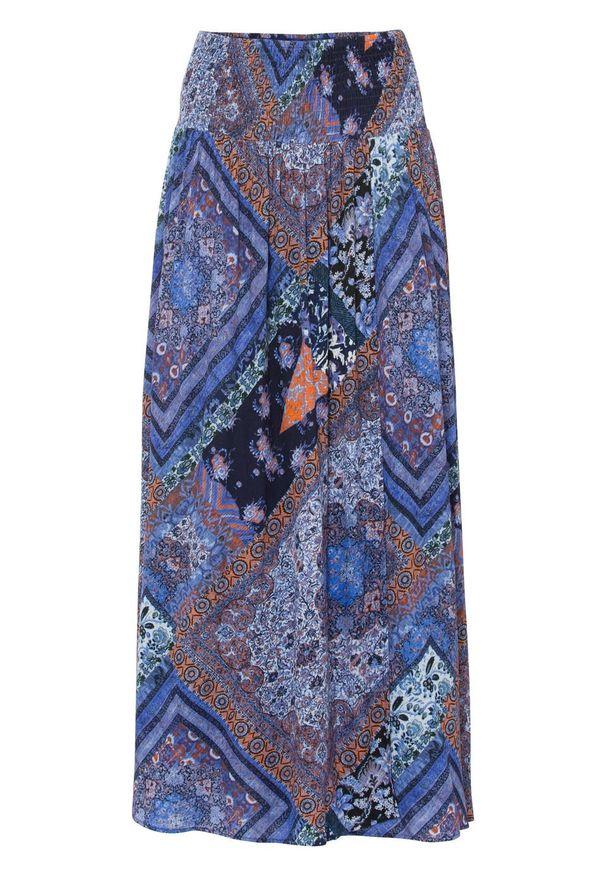 Spódnica kopertowa bonprix niebiesko-brązowy wzorzysty. Kolor: niebieski. Długość: długie