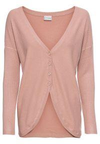 Sweter rozpinany bonprix stary jasnoróżowy. Kolor: różowy. Styl: retro