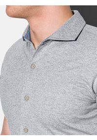 Szara koszula Ombre Clothing na lato, klasyczna, z klasycznym kołnierzykiem #6