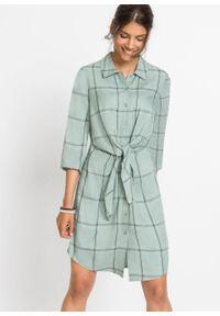 Sukienka szmizjerka z przewiązaniem bonprix dymny zielony w kratę. Kolor: zielony. Typ sukienki: szmizjerki