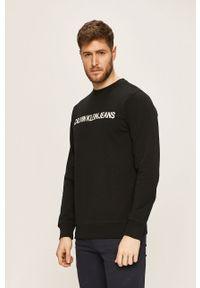 Czarna bluza nierozpinana Calvin Klein Jeans bez kaptura, z nadrukiem, casualowa