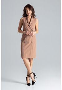 Lenitif - Elegancka żakietowa sukienka z kopertowym dekoltem. Okazja: do pracy, na spotkanie biznesowe. Typ sukienki: kopertowe. Styl: elegancki. Długość: midi