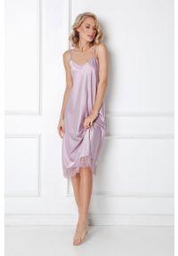 Aruelle - Koszula nocna Celine. Kolor: fioletowy. Materiał: satyna, materiał. Wzór: ze splotem