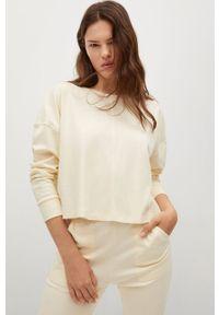 mango - Mango - Bluza bawełniana Splong. Kolor: beżowy. Materiał: bawełna. Długość rękawa: długi rękaw. Długość: długie