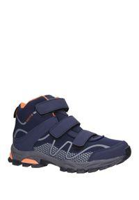 Casu - Granatowe buty trekkingowe na rzepy softshell casu a1516b-2. Zapięcie: rzepy. Kolor: pomarańczowy, niebieski, wielokolorowy. Materiał: softshell