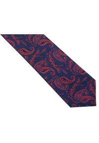 Modini - Granatowy krawat męski w paisley C20. Kolor: niebieski. Materiał: tkanina, mikrofibra. Wzór: paisley