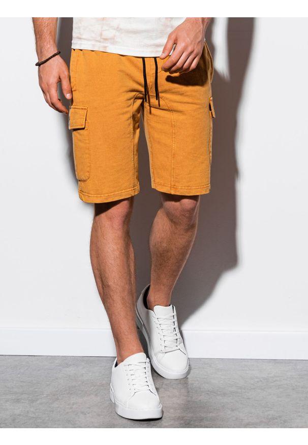 Żółte szorty Ombre Clothing krótkie, z aplikacjami
