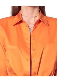 AGGI - Pomarańczowa koszula oversize Demi. Okazja: na co dzień. Typ kołnierza: kołnierzyk klasyczny. Kolor: pomarańczowy. Materiał: bawełna. Styl: klasyczny, elegancki, casual