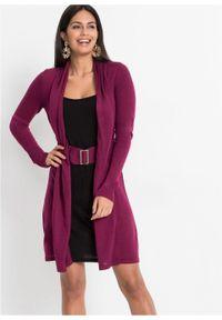 Sukienka dzianinowa z paskiem bonprix jeżynowo-czarny. Kolor: fioletowy. Materiał: dzianina