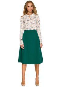 MOE - Zielona Klasyczna Trapezowa Spódnica Midi. Kolor: zielony. Materiał: poliester, wiskoza, elastan. Styl: klasyczny