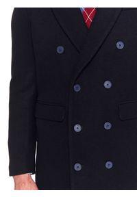 TOP SECRET - Płaszcz elegancki dwurzędowy gładki. Kolor: niebieski. Wzór: gładki. Sezon: zima. Styl: elegancki