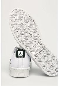 Białe sneakersy Converse z okrągłym noskiem, na sznurówki