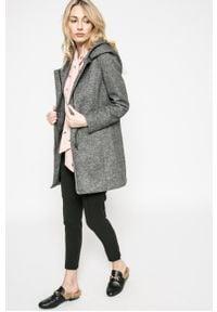Szary płaszcz only z kapturem, na co dzień, casualowy