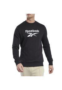 Czarna bluza Reebok z aplikacjami, z długim rękawem, z klasycznym kołnierzykiem