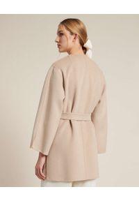 Luisa Spagnoli - LUISA SPAGNOLI - Beżowy płaszcz Viareggio. Okazja: na co dzień. Kolor: beżowy. Materiał: wełna, tkanina, materiał. Długość: długie. Styl: casual