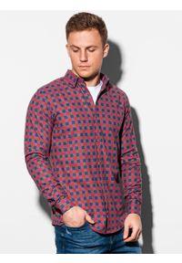 Ombre Clothing - Koszula męska w kratę z długim rękawem K509 - czerwona - XL. Kolor: czerwony. Materiał: bawełna, poliester. Długość rękawa: długi rękaw. Długość: długie