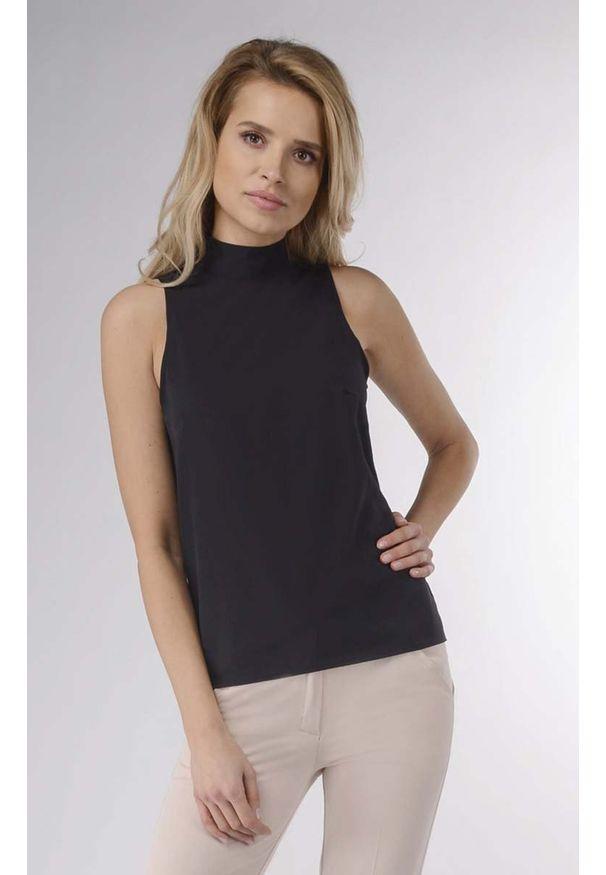 Czarna bluzka Nommo bez rękawów, elegancka