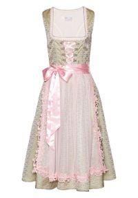 Sukienka ludowa z perełkami bonprix khaki - bladoróżowy wzorzysty. Kolor: szary. Materiał: koronka