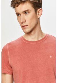 Różowy t-shirt Jack & Jones gładki, na co dzień, casualowy