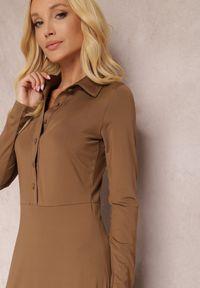 Renee - Brązowa Sukienka Eidilea. Kolor: brązowy. Długość rękawa: długi rękaw. Typ sukienki: koszulowe, dopasowane. Styl: retro. Długość: midi