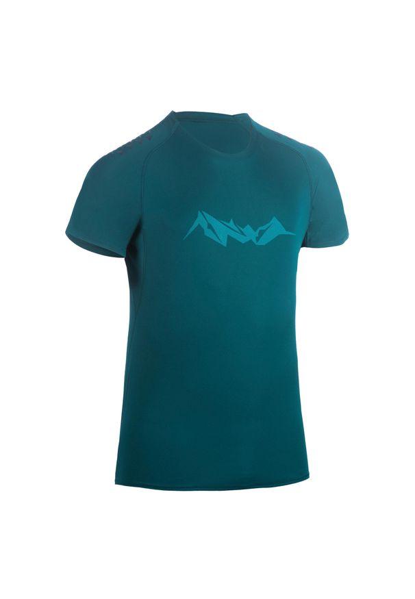 EVADICT - Koszulka do biegania w terenie męska. Typ kołnierza: okrągły. Kolor: niebieski, wielokolorowy, turkusowy. Materiał: poliester, materiał. Sport: bieganie