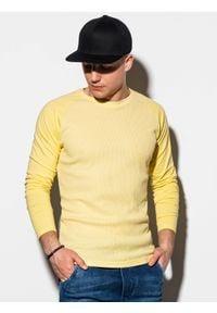 Ombre Clothing - Longsleeve męski bez nadruku L119 - żółty - XXL. Kolor: żółty. Materiał: poliester, tkanina, bawełna. Długość rękawa: długi rękaw