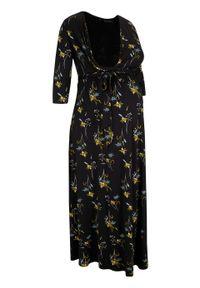 Czarna sukienka bonprix w kwiaty, moda ciążowa