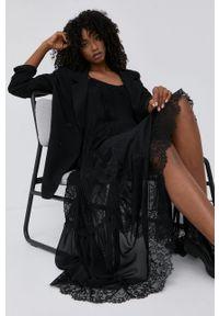 TwinSet - Twinset - Sukienka. Kolor: czarny. Materiał: tkanina, koronka. Długość rękawa: na ramiączkach. Typ sukienki: plisowane, rozkloszowane
