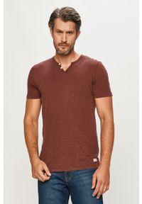 Brązowy t-shirt PRODUKT by Jack & Jones casualowy, krótki, na co dzień